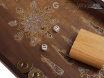 picture of Walnut Backgammon Set with Inlaid Bronze and Natural Mother of Pearl - Athena (7 of 11)