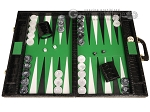 Marcello de Modena™ Leather Backgammon Set - Model MM-100 - Large - Croco Black - Green Field - Item: 4028