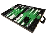 Marcello de Modena™ Leather Backgammon Set - Model MM-100 - Large - Croco Black - Green Field