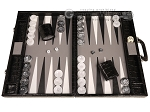 Marcello de Modena™ Leather Backgammon Set - Model MM-114 - Large - Croco Black - Grey Field - Item: 4030