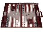 Marcello de Modena™ Leather Backgammon Set - Model MM-128 - Large - Croco Burgundy - Item: 4032