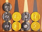Backgammon Checkers - High Gloss Acrylic - Black & Yellow (1 1/2in. Dia.) - Set of 30 - Item: 2611