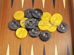 picture of Backgammon Checkers - High Gloss Acrylic - Black & Yellow (1 1/2in. Dia.) - Set of 30 (3 of 3)