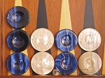 picture of Backgammon Checkers - High Gloss Acrylic - Blue & Ivory (1 1/2in. Dia.) - Set of 30 (1 of 3)
