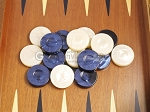 picture of Backgammon Checkers - High Gloss Acrylic - Blue & Ivory (1 1/2in. Dia.) - Set of 30 (3 of 3)
