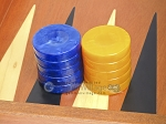 picture of Backgammon Checkers - High Gloss Acrylic - Blue & Yellow (1 1/2in. Dia.) - Set of 30 (2 of 3)