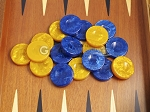 picture of Backgammon Checkers - High Gloss Acrylic - Blue & Yellow (1 1/2in. Dia.) - Set of 30 (3 of 3)