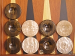 picture of Backgammon Checkers - High Gloss Acrylic - Brown & Ivory (1 1/2in. Dia.) - Set of 30 (1 of 3)