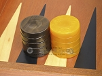 picture of Backgammon Checkers - High Gloss Acrylic - Brown & Yellow (1 1/2in. Dia.) - Set of 30 (2 of 3)