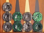 Backgammon Checkers - High Gloss Acrylic - Black & Green (1 1/2in. Dia.) - Set of 30 - Item: 2614