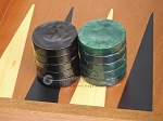 picture of Backgammon Checkers - High Gloss Acrylic - Black & Green (1 1/2in. Dia.) - Set of 30 (2 of 3)