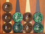 picture of Backgammon Checkers - High Gloss Acrylic - Brown & Green (1 1/2in. Dia.) - Set of 30 (1 of 3)