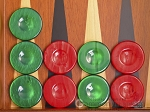 Backgammon Checkers - High Gloss Acrylic - Green & Red (1 1/2in. Dia.) - Set of 30 - Item: 2606