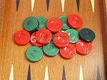picture of Backgammon Checkers - High Gloss Acrylic - Green & Red (1 1/2in. Dia.) - Set of 30 (3 of 3)
