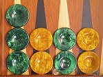 Backgammon Checkers - High Gloss Acrylic - Green & Yellow (1 1/2in. Dia.) - Set of 30 - Item: 2617