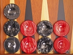 Backgammon Checkers - High Gloss Acrylic - Black & Red (1 1/2in. Dia.) - Set of 30 - Item: 2607
