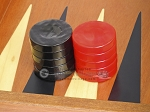 picture of Backgammon Checkers - High Gloss Acrylic - Black & Red (1 1/2in. Dia.) - Set of 30 (2 of 3)