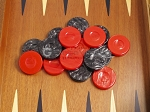 picture of Backgammon Checkers - High Gloss Acrylic - Black & Red (1 1/2in. Dia.) - Set of 30 (3 of 3)