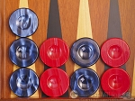 Backgammon Checkers - High Gloss Acrylic - Blue & Red (1 1/2in. Dia.) - Set of 30 - Item: 2618