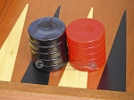 picture of Backgammon Checkers - High Gloss Acrylic - Blue & Red (1 1/2in. Dia.) - Set of 30 (2 of 3)