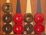 Backgammon Checkers - High Gloss Acrylic - Brown & Red (1 1/2in. Dia.) - Set of 30 - Item: 2608