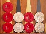 Backgammon Checkers - High Gloss Acrylic - Red & Ivory (1 1/2in. Dia.) - Set of 30 - Item: 2619