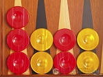Backgammon Checkers - High Gloss Acrylic - Red & Yellow (1 1/2in. Dia.) - Set of 30 - Item: 2620