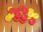picture of Backgammon Checkers - High Gloss Acrylic - Red & Yellow (1 1/2in. Dia.) - Set of 30 (3 of 3)