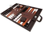 19-inch Premium Backgammon Set - Dark Brown