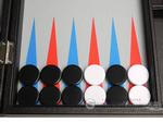 16-inch Premium Backgammon Set - Black with Scarlet Red and Patriot Blue Points