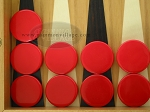 Backgammon Checkers - Plastic - Red (1 in. Dia.) - Roll of 15 - Item: 1696