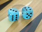 5/8 in. Rounded High Gloss Swoosh Dice - Arctic Blue (1 pair) - Item: 1818