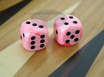 Rounded High Gloss Swoosh Dice - Pink (1 pair)