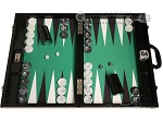 Wycliffe Brothers® Tournament Backgammon Set - Black with Green Field - Gen III - Item: 3231