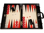 Wycliffe Brothers® Tournament Backgammon Set - Black Croco with Cream Field - Gen III - Item: 3980
