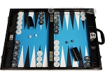 Wycliffe Brothers® Tournament Backgammon Set - Black Croco with Blue Field - Gen III - Item: 3982