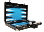Wycliffe Brothers® Tournament Backgammon Set - Black Croco with Blue Field - Gen III