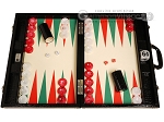 Wycliffe Brothers® Tournament Backgammon Set - Black Croco with Cream Field (Green Points) - Gen III - Item: 3981