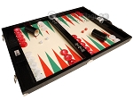 Wycliffe Brothers® Tournament Backgammon Set - Black Croco with Cream Field (Green Points) - Gen III