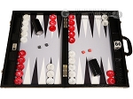 Wycliffe Brothers® Tournament Backgammon Set - Black Croco with Grey Field - Gen III - Item: 3979