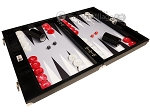 Wycliffe Brothers® Tournament Backgammon Set - Black Croco with Grey Field - Gen III
