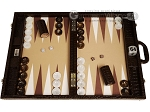 Wycliffe Brothers® Tournament Backgammon Set - Brown Croco with Beige Field - Gen III - Item: 3233