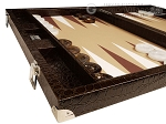 picture of Wycliffe Brothers® Tournament Backgammon Set - Brown Croco with Beige Field - Gen III (5 of 12)