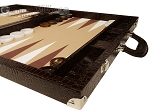 picture of Wycliffe Brothers® Tournament Backgammon Set - Brown Croco with Beige Field - Gen III (6 of 12)