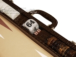picture of Wycliffe Brothers® Tournament Backgammon Set - Brown Croco with Beige Field - Gen III (7 of 12)