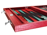 picture of Wycliffe Brothers® Tournament Backgammon Set - Red Croco with Black Field - Gen I (5 of 12)