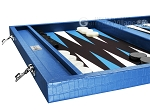 picture of Wycliffe Brothers® Tournament Backgammon Set - Turquoise Croco with Black Field - Gen I (5 of 12)