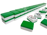 Mah Jong Tiles - White with Green Back - 166 Tiles + 2 Black Trays - Item: 3072