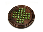 Dark Walnut Stained Wooden Solitaire with Green Glass Marbles - 12 in. (Made in USA) - Item: 4042
