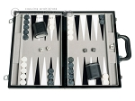 15-inch Leatherette Backgammon Set - Inlaid Velvet Field - Black/Grey - Item: 2988